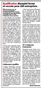 """Article L'ALSACE du 15 juin 2013 par Alvezio Buonasorte : """"ALEMPLOI forme et recrute pour 230 entreprises"""""""