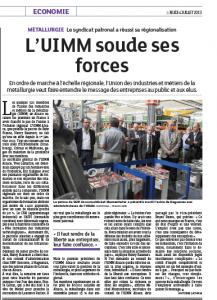 """Article DNA du 4 juillet 2013 sous la plume d'Antoine Latham : """"L'UIMM soude ses forces""""."""